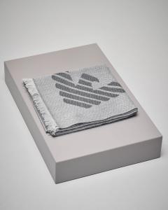Sciarpa grigio chiaro con logo