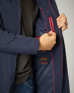 Giaccone blu in tessuto tecnico stretch con cappuccio