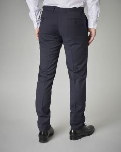 Abito blu micro-quadretto stretch