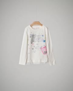 T-shirt bianca stelle glitter