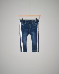 Jeans bande argento