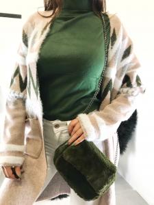 Maglia donna a dolcevita collo alto in tessuto misto lana viscosa TG unica