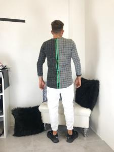 Maglia uomo manica lunga in felpa garzata bicolor con banda su schiena TG S/M/L