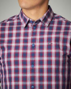 Camicia blu e rossa a quadri