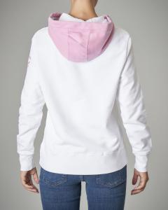 Felpa bianca in cotone con cappuccio