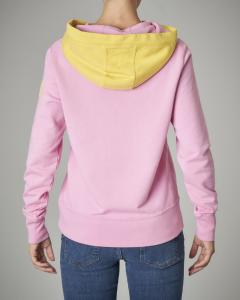 Felpa rosa in cotone con cappuccio