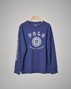 T-shirt blu  con stemma S-XL