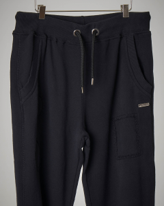 Pantalone nero in felpa con coulisse