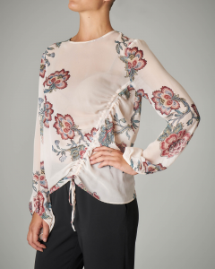 Blusa in georgette stampa floreale base bianca