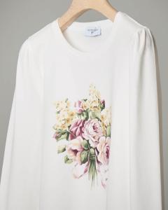 T-shirt bianca con stampa fiori