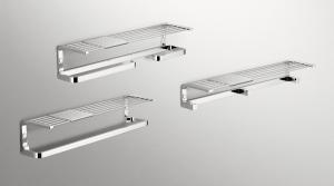 Mensola con porta salviette e porta rotolo per il bagno serie Time Colombo design