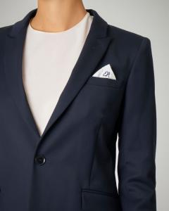 Blazer blu monopetto con pochette logata