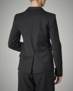 Blazer nero monopetto con pochette logata