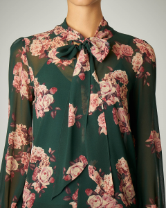 Camicia verde con fiocco stampa rose