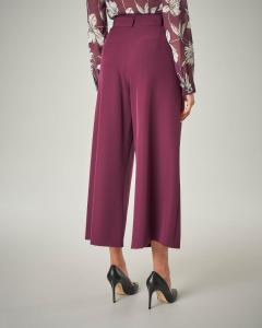 Pantalone bordeaux cropped ampio a vita alta