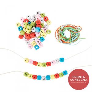 Dadi da infilare colorati con lettere creazione collane braccialetti personalizzati-2