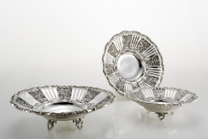 Cestino fruttiera argentata argento sheffield stile cesellato