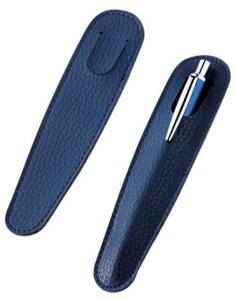 Bustina in pelle blu cm.15x3,5x0,1h