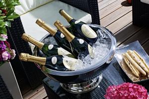 Spumantiera Champagne rotonda Doppiacamera interno martellato Acciaio Inox cm.23h diam.42