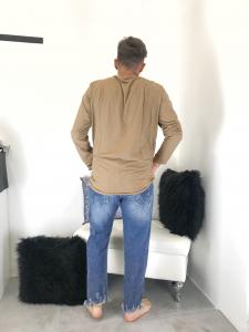Jeans uomo strappato in lavaggio blu con sbiaditure stretto al fondo TG 42/44/46/48/50/52
