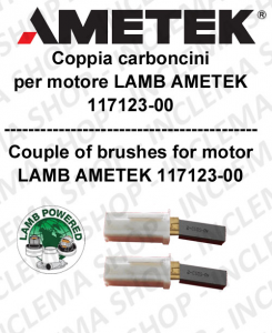COPPIA di Carboncini moteur aspiration  pour motore LAMB AMETEK 117123-00 2 x cod. N33423-12