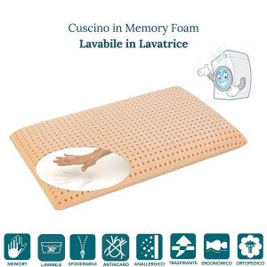 Cuscino Memory Cervicale Lavabile in Lavatrice Automodellante Ergonomico Doppia Onda
