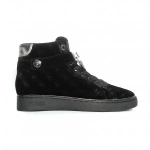 Sneaker alta nera in velluto logato Guess