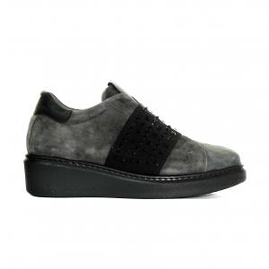 Sneaker antracite con fascia strassata Melluso
