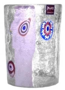 Bicchiere in vetro con Murrine ml 450 stile Venezia cm.7,5x7,5x11h Ø7,5