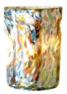 Bicchiere in vetro con Murrine ml 450 stile Venezia cm.7x7x11h Ø7