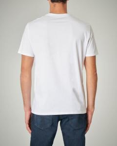 T-shirt bianca in cotone con logo quadrato