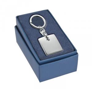 Portachiavi quadrato anello ovale silver plated