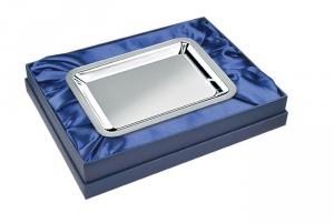 Vassoio medio con lux box in silver plated stile Cardinale cm.15,8x13x3,5h