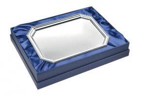 Vassoio ottagonale con scatola blu in silver plated stile Inglese cm.23,5x17x4,1h