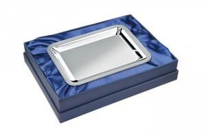 Vassoio rettangolare argentato argento con lux box