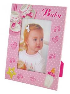 Portafoto Bambina rosa cm.16x21x1h