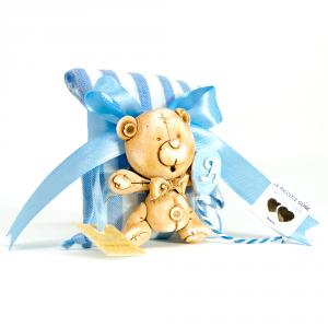 Pochette rigata in lino bianco e celeste con fiocco ed orsetto