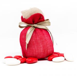 Saccotto in lino con applicazione di una rosa beige lino, fiocco in tono