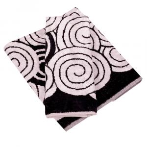 Coppia di asciugamani in spugna Carrara BOHEME bianco e nero