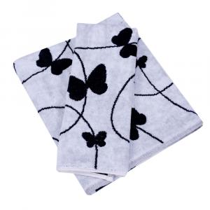 Coppia di asciugamani in spugna Carrara MELODY bianco farfalle