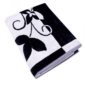 Telo da bagno in spugna 95x150 cm Carrara TIFFANY bianco e nero