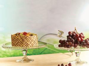 Alzata tonda per dolci in vetro con cloche in vetro cm.28h diam.32