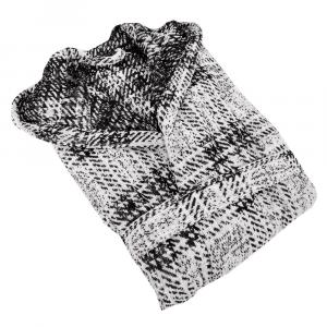 Accappatoio in spugna Carrara con cappuccio GRENOBLE bianco e nero
