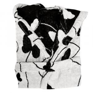 Accappatoio in spugna Carrara con cappuccio MELODY bianco farfalle