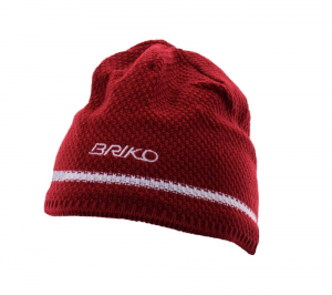 BRIKO Winter Red White Unisex Cap Wool Plush Interior