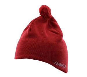 BRIKO Winter Red White Unisex Cap Lined Interior Wool