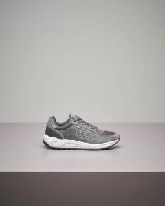 Sneakers grigia in pelle e mesh