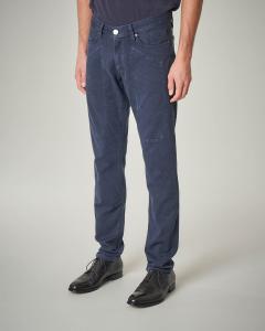 Pantalone cinque tasche blu con toppa armaturato