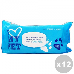 Set 12 Hygienic Wipes For Animals 100 Pieces White Musk