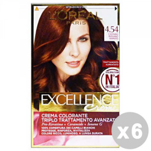 L'OREAL Set 6 Hair Dye Excellence Cream Hair N.4.54 Brown Mahogany Copper